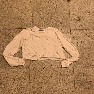 White cropped crewneck sweatshirt lightweight